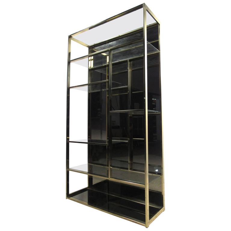 unique milo baughman style brass finish etagere for sale at 1stdibs. Black Bedroom Furniture Sets. Home Design Ideas