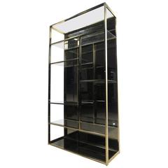 Unique Milo Baughman Style Brass Finish Etagere