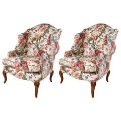 Pair Of Tall Back Stylized Wingback Chairs Attributed To