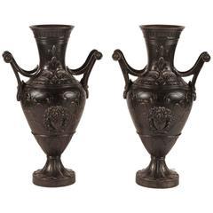 Pair of Monumental Iron Urns, circa 1905