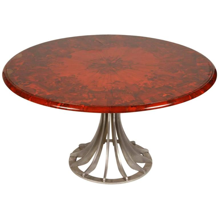 French 1940s Red Lacquered Table with Metal Base