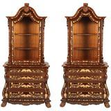 Pair of Dutch Style Vitrine Display Cabinets