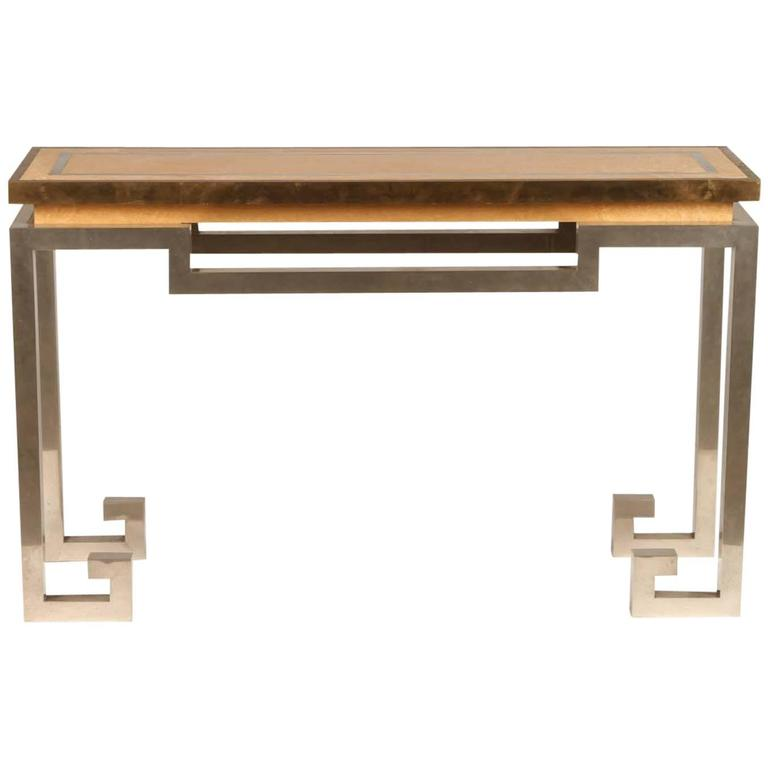 Stainless Steel, Brass, and Oak Console Table Attributed to Jansen