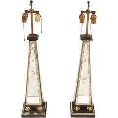 Pair of Mirrored Obelisk Form Table Lamps