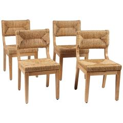 Set of Four Italian Dining Chairs with Rush Backs and Seats