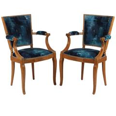 Pair of French Oak Armchairs