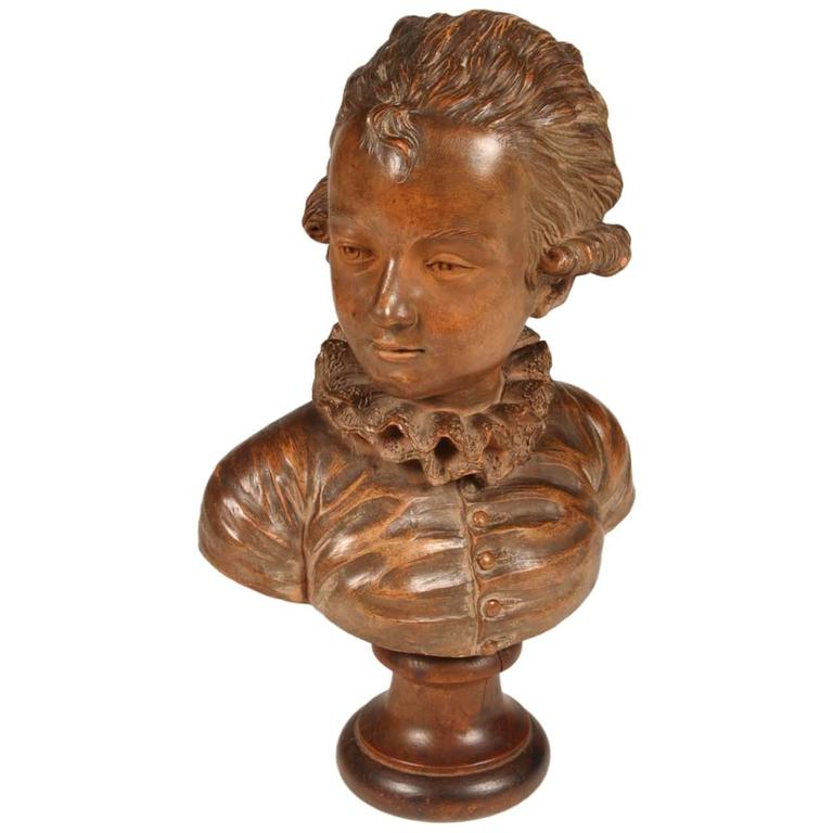 Terracotta Bust of Mozart as a Child For Sale