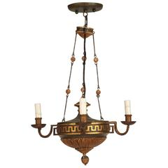 French Empire Revival Hand-Painted Wood Chandelier