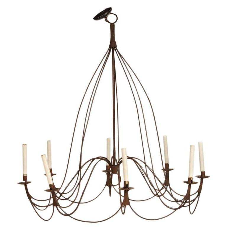 Large Rustic French Provincial Eight-Light Chandelier