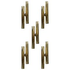 Exceptional Set of Ten Brass Wall Sconces
