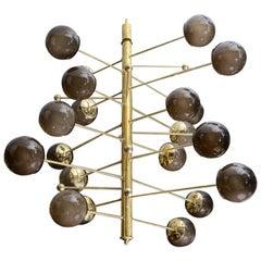 Brass Vertical Chandelier with Murano Glass Globes, Glustin Luminaires Creation