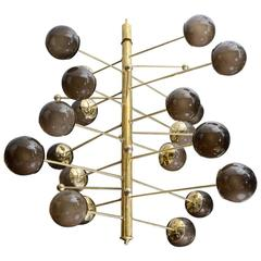 Brass Vertical Chandelier with Murano Glass Globes, Glustin Luminaires Creation
