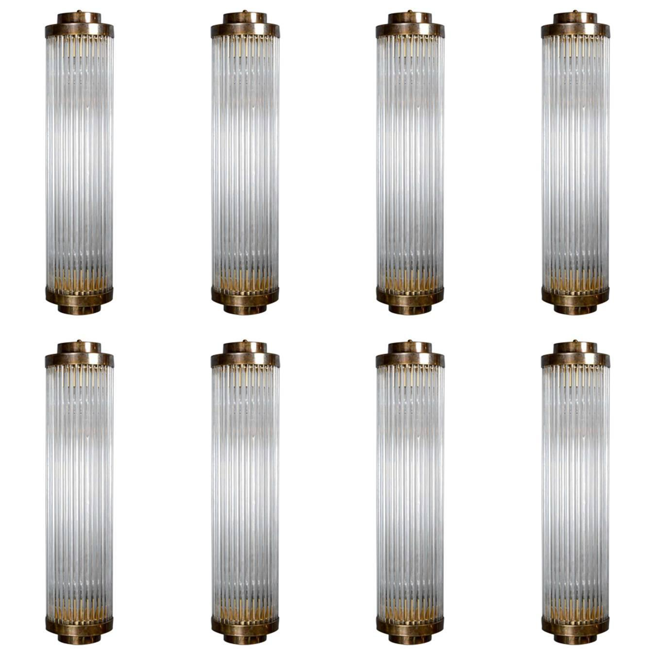 Set of Height Brass and Glass Rods Wall Sconces at 1stdibs