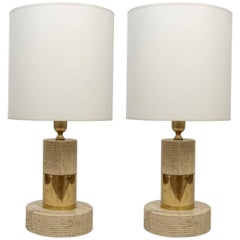 Pair of Mid-Century Travertine and Brass Lamps
