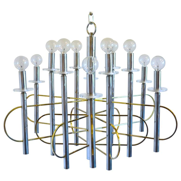 Italian Modern Sciolari Chrome, Brass and Glass Chandelier