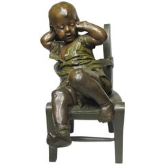 French 19th Century Patinated Bronze Sculpture an Infant Girl Seated in a Chair
