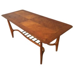 Wonderful Italian Coffee Table, Walnut and Brass