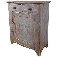 19th Century Blue Painted Pine Country Cupboard