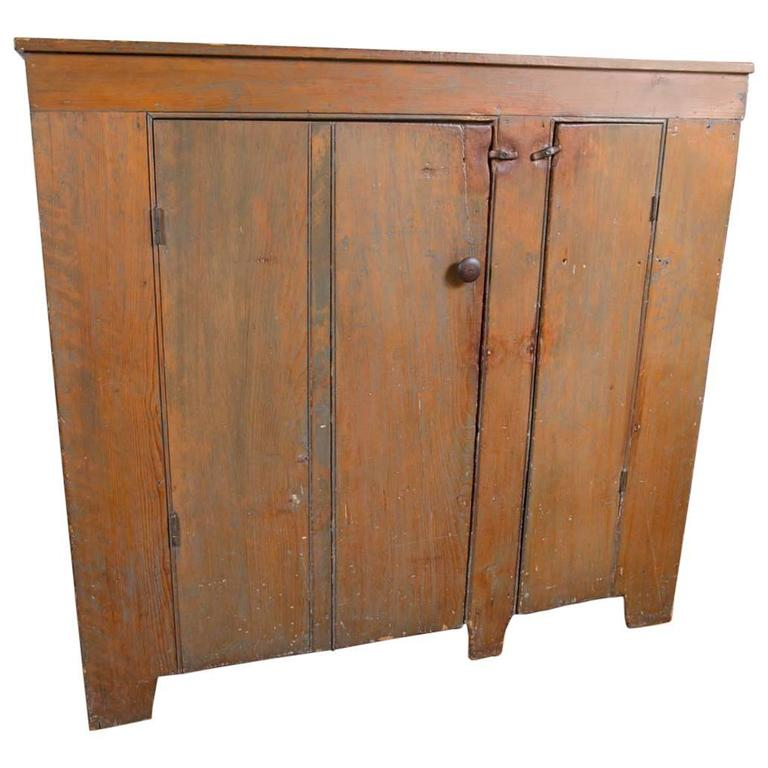 19th Century Two-Door Country Cupboard in Old Brown Wash