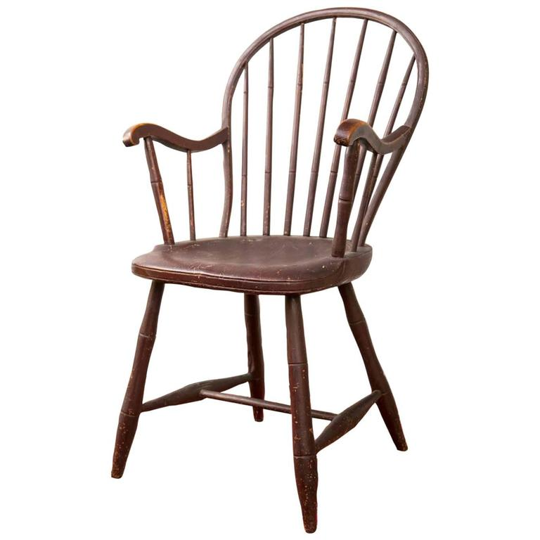 Pennsylvania Bow-Back Windsor Armchair in Red Paint, circa 1800 at 1stdibs