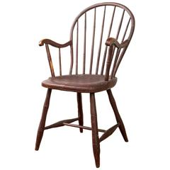 Pennsylvania Bow-Back Windsor Armchair in Red Paint, circa 1800
