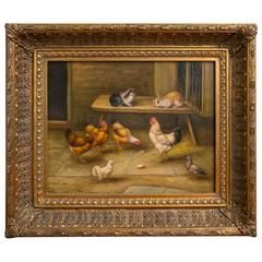 19th Century Oil on Board Barnyard Scene Featuring Chickens, Rabbits and Pigeon