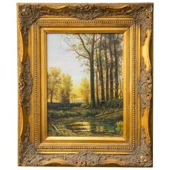 Early 20th Century Landscape Painting in Ornate Period Frame