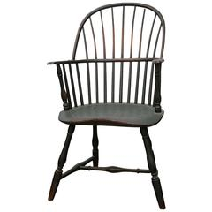 Philadelphia Knuckle Arm Windsor Chair in Old Green Paint, circa 1790