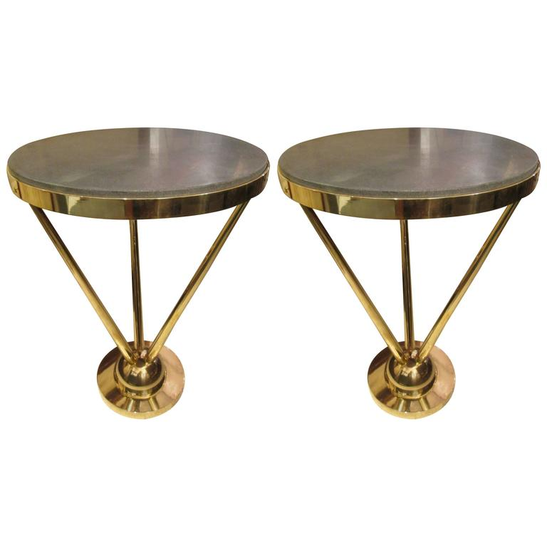 Pair of Sculptural French 1970s Bronze Tables with Marble Tops For Sale