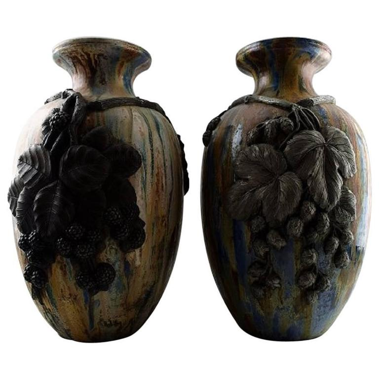 Pair of Large French Art Deco Floor Vases, Roger Guerin For Sale