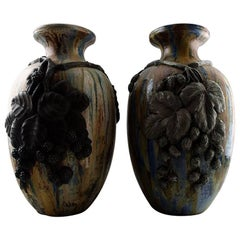 Pair of Large French Art Deco Floor Vases, Roger Guerin