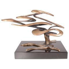 "Bob Bennett Brass Sculpture ""Carmel"" on Ebony Base"