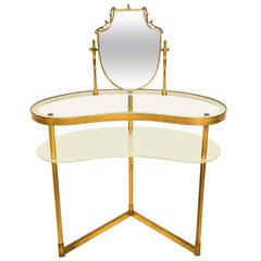 Sculptural MId-Century Modern Italian Vanity With Mirror in Brass & Glass