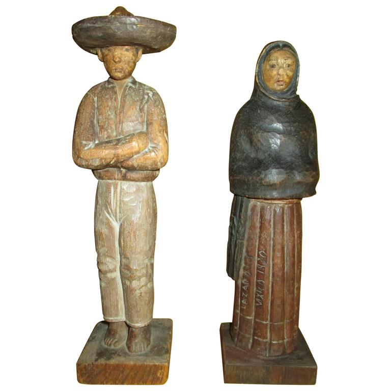 Pair Of Carved Mexican Folk Art Figures Lazaro L S 1930