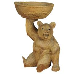 Wooden Carved Bear with Bowl, Brienz, 1920