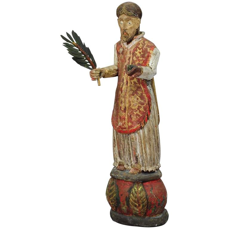 Wooden Carved Sculpture of a Saint, circa 1850