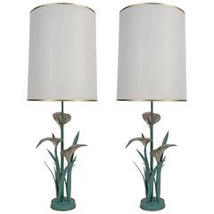 """Pair of 1970s """"Arums Bouquet"""" Table Lamps by Chrystiane Charles"""