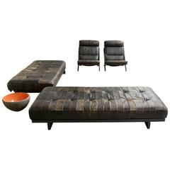 Rare De Sede Ds80 Set, Daybed, Two Lounge Chairs, DeSede