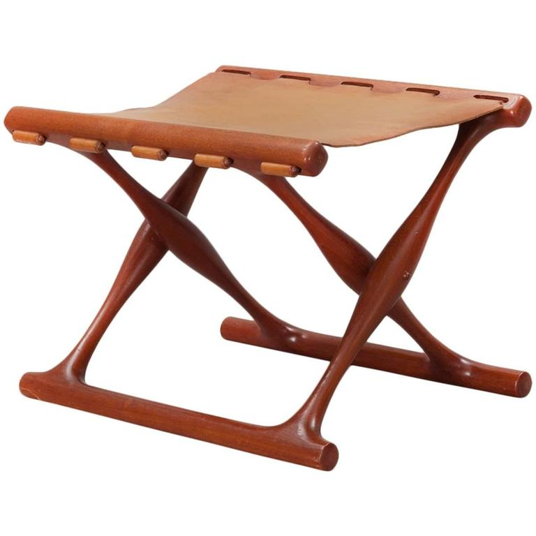 Gold Hill Folding Stool by Poul Hundevad For Sale