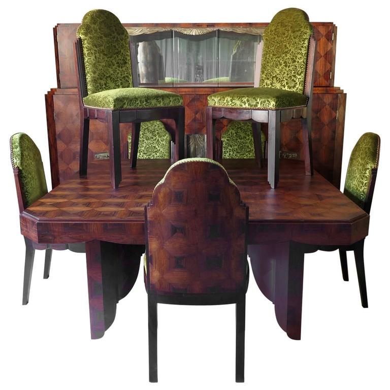 Rare French Art Deco Walnut Dining Room Set By Jean Charles Moreux For Sale At 1stdibs