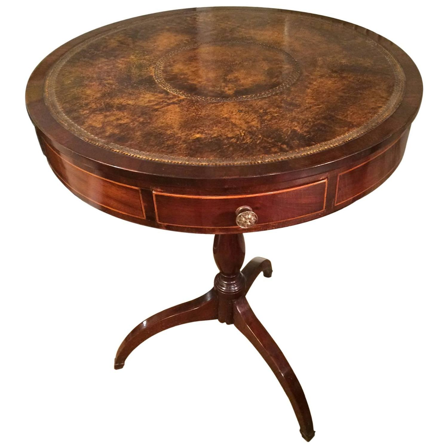 English regency mahogany and tooled leather revolving drum for Drum side table