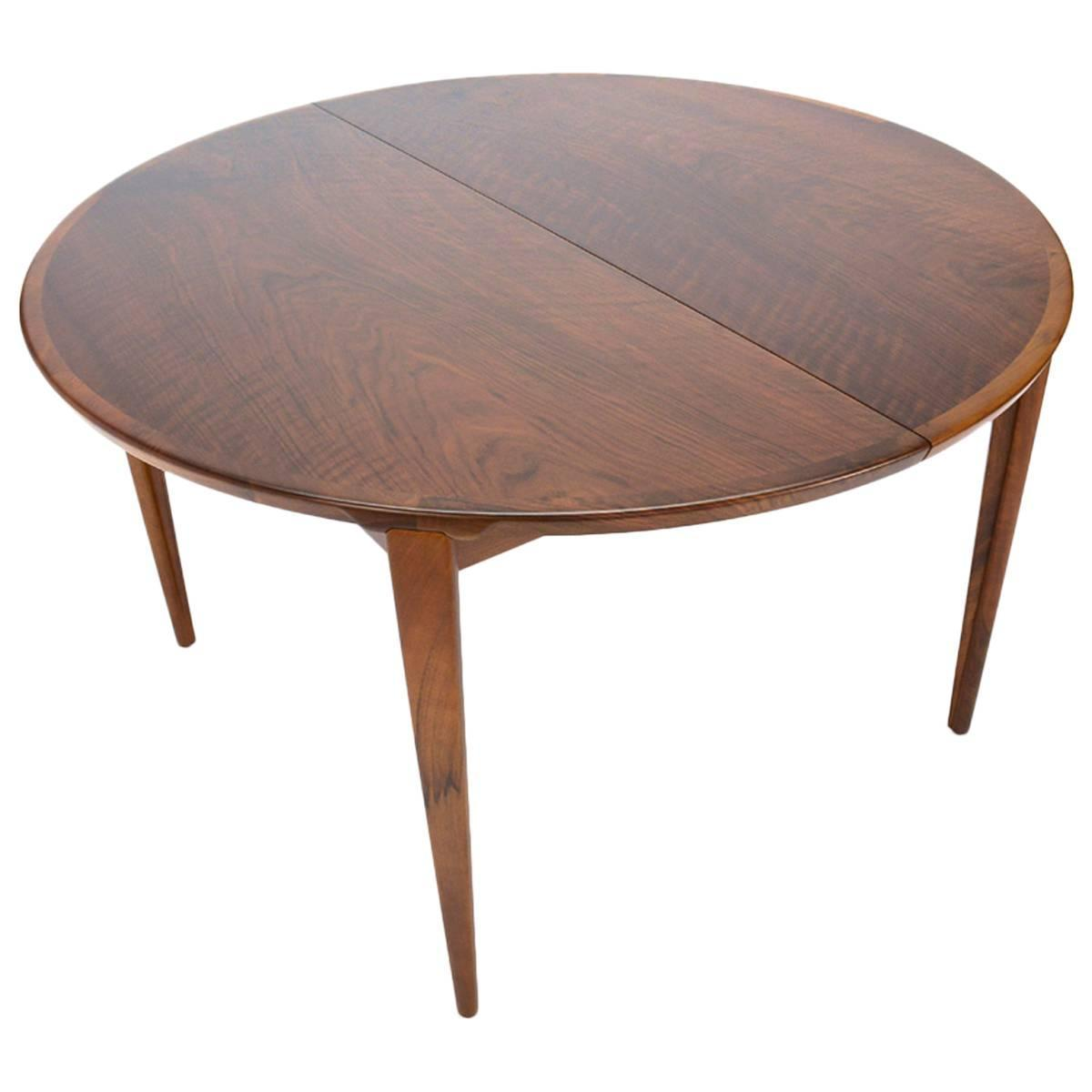 Round Walnut Dining Table By Rosengren Hansen At 1stdibs