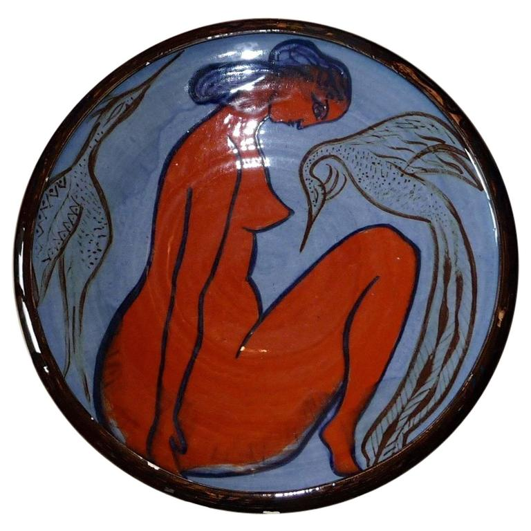Ceramic Large Cup, Decoration of a Woman, circa 1950-1970