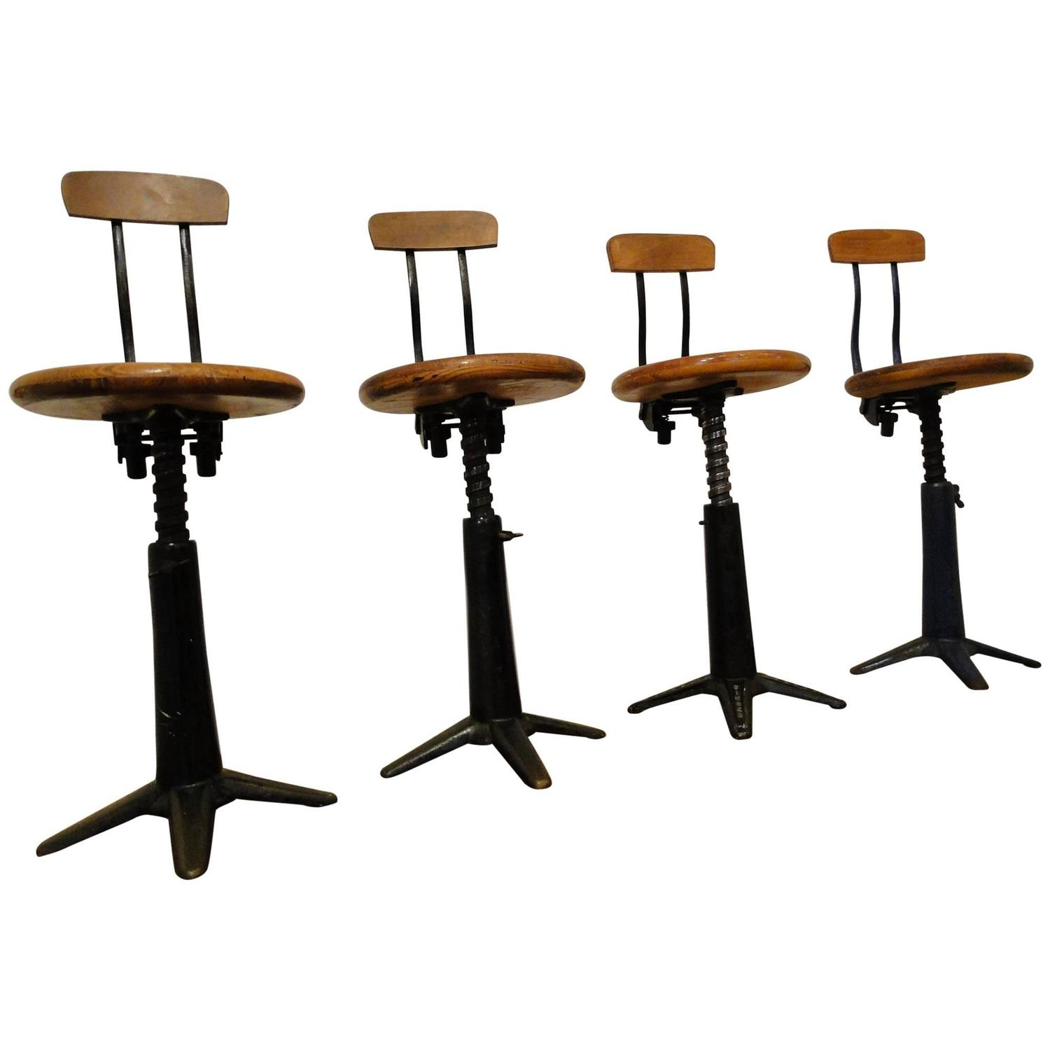 Vintage Industrial Singer Work Chairs Stool by Simanco at 1stdibs