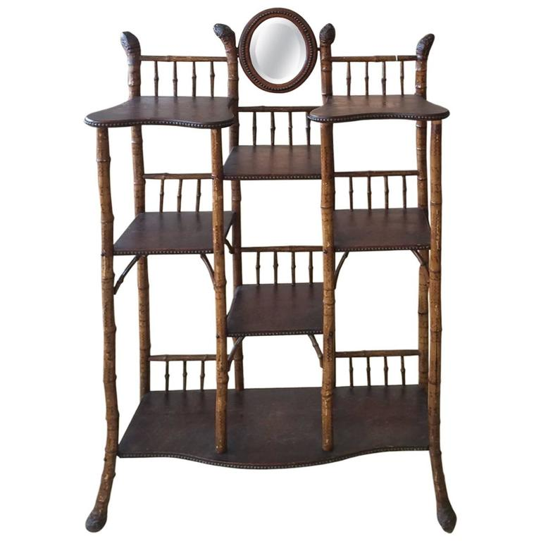 Vintage Bamboo And Wood Etagere At 1stdibs