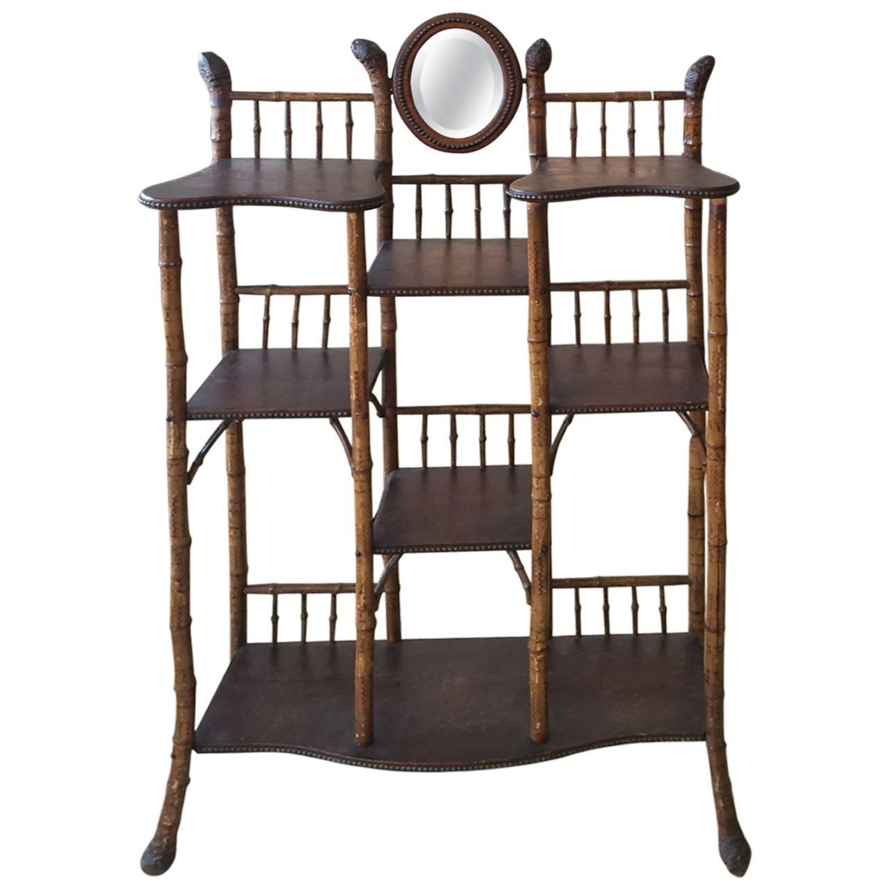 vintage bamboo and wood etagere for sale at 1stdibs. Black Bedroom Furniture Sets. Home Design Ideas
