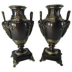 Pair of Grand Tour Etruscan Bronze Urns