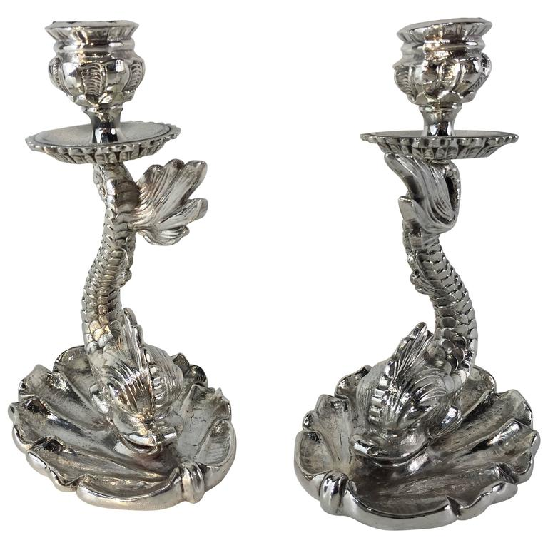 Silver Plated Bronze Dolphin Candlesticks