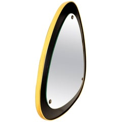 1950s Italian Curvilinear Brass and Ebonized Wood Mirror, Mid-Century Modern
