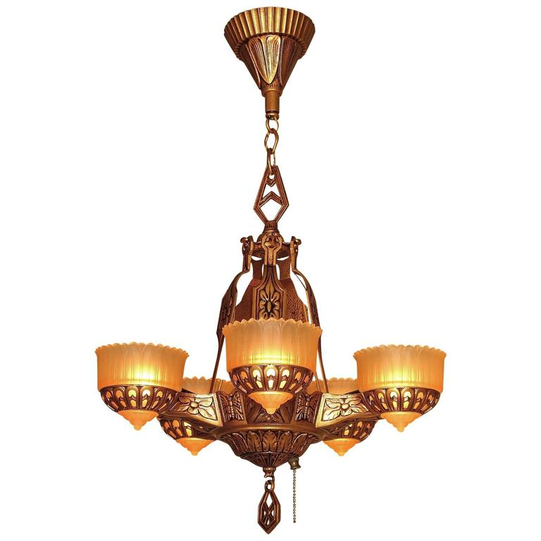 Deco Era Ceiling Chandelier With Butterflies For Sale At